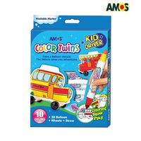 Amos Coloring Markers, 10 colors with inflatable Car (CT10P-KD)