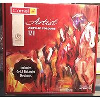 Camel Artist Acrylic Color Box(40ml, 12 shades) with Gel & Retarder Mediums