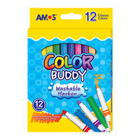 Amos Color Buddy Markers, 12 Colors in slim body (CM12P-L)