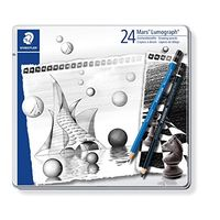 Staedtler Mars Lumograh Artist Pencil Assorted Metal Box (Pack of 24) (100 G 24 S 1)