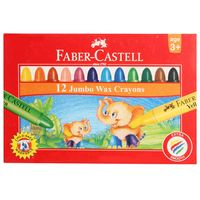 Faber Castell Jumbo Wax Crayons, 12 Shades( 90mm)