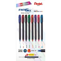 Pentel Energel Roller Gel Pen (Assorted Ink Colours, Pack of 8)