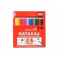 Natraj Half Size Colour Pencils - 24 Shades (Pack of 4)