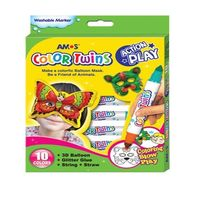 Amos Color Twin Markers, 10 colors with 3D Balloon (CT10P-AP)