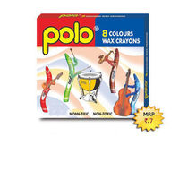 Polo Wax Crayons 8 Colours (L 57MM) -Pack of 10