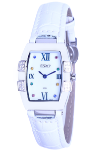 Ecstacy Women's Leather Band Watch E7505-SLWM, white, silver, mop white