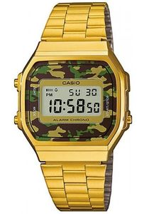 Men's Stainless Steel Band Watch - A-168, grey/camouflage, gold, gold