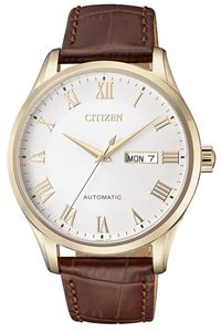 Men's Leather Band Watch - NH8363, white, gold, brown