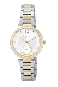 Ecstacy Women's Stainless Steel Band Watch E7522-TBTS, silver, gold, tt gold