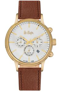 Men's Leather Band Watch -LC06429, blue, rose gold, white