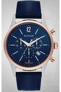 Men's Genuine Leather Band Watch -WA12428, blue, silver, blue