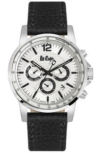 Men's Leather Band Watch - LC06178, silver, silver, black