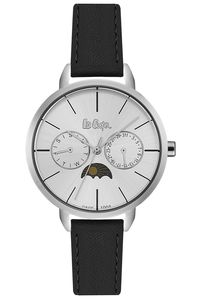 Women's Leather Band Watch - LC06483, black, silver, white