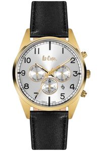 Men's Leather Band Watch - LC06314, black, gold, silver