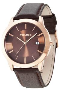 Men's Leather Band Watch - P 14139, brown, rose gold, brown