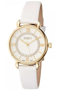 Ecstacy Women's Leather Band Watch E8505-GLWS, white, gold, silver