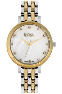 Women's Super Metal Band Watch - LC06475, mop white, two tone gold, two tone gold