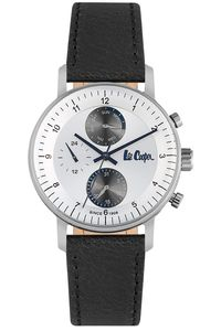Men's Leather Band Watch - LC06533, black, silver, silver
