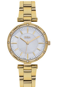 Women's Super Metal Band Watch -LC06474, mop white, ip gold, two tone ip gold