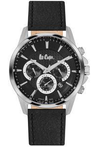 Men's Leather Band Watch -LC06436, black, silver, black
