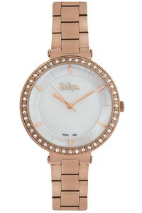 Women's Super Metal Band Watch - LC06560, mop white, rose gold, rose gold