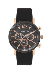 Giordano Men's Watch Multi Function Display- 1829-02, black, black