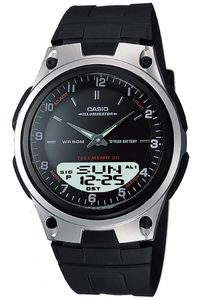 Men's Resin Band Watch - AW-80, black, silver, black