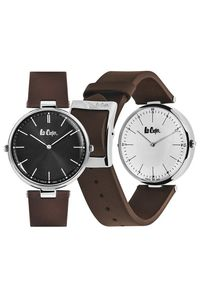 Men's Leather Band Watch -LC06636, black / silver, silver, brown