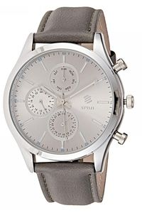 Stylo Men's Leather Band Watch - S7128-RLDB, silver, silver, grey