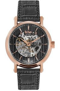 Men's Leather Band Watch - LC06369, black, rose gold, black
