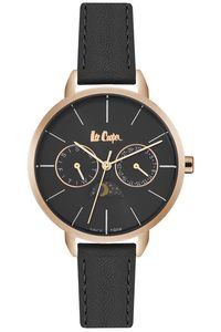 Women's Leather Band Watch - LC06483, black, rose gold, black