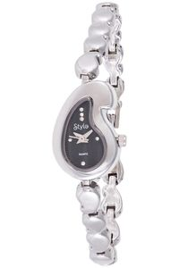 Women's Yellow Gold Plated Band Watch-S5513, black, silver, silver