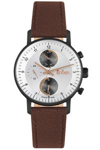 Men's Leather Band Watch - LC06533, brown, rose gold, silver