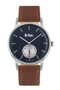 Men's Leather Band Watch -LC06673, brown, silver, blue
