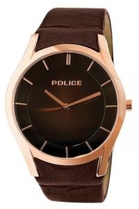 Men's Leather Band Watch - P 13268, brown, rose gold, brown