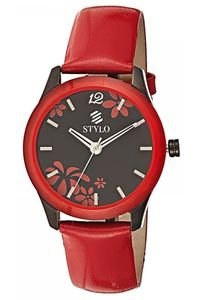 Stylo Women's Leather Band Watch - S7540-BLRS, silver, ip black, red