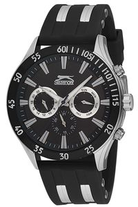 Men's Resin Band Watch - SL. 9.6076, black, silver, black