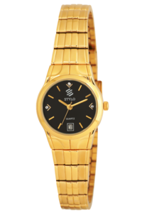 Women's Stainless Steel Band Watch -S7517, black, ip gold, ip gold