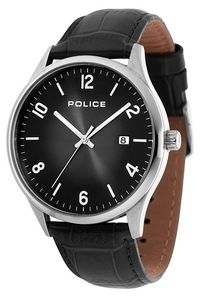 Men's Leather Band Watch - P 14925, black, silver, black