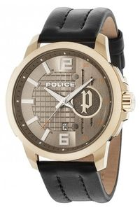 Men's Leather Band Watch - P 15238, sunray, gold, black