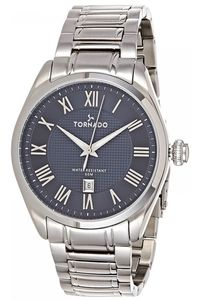 Men's Solid Stainless Steel Band Watch- T8007, blue, silver, silver