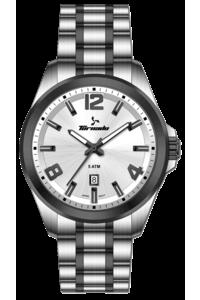 Men's Solid Stainless Steel Band Watch- T7007, tt black, silver, tt black