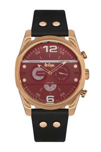 Men's Leather Band Watch - LC06176, black, rose gold, black
