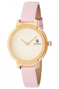 Stylo Women's Leather Band Watch - S7537-RLPS, silver, rose gold, pink
