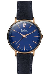 Women's Leather Band Watch - LC06378, blue, rose gold, blue