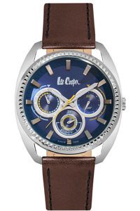 Men's Leather Band Watch -LC06664, blue, rose gold, blue
