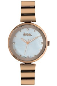 Women's Super Metal Band Watch - LC06509, mop white, rose gold, rose gold