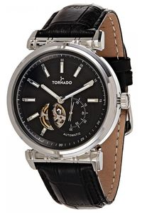 Men's Genuine Leather Band Watch- T8303, black, black, black