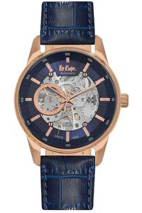Men's Leather Band Watch -LC06423, blue, rose gold, blue