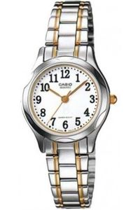 Women's Stainless Steel Band Watch - LTP-1257, white, silver, tt gold